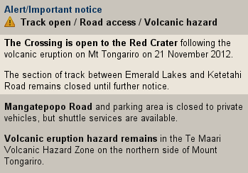 A screenshot showing the Tongariro Crossing as Closed